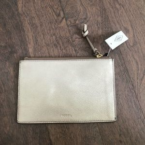 LEATHER Fossil Metallic Taupe Small Pouch / Clutch